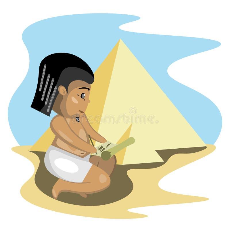 Egyptenaar schrijft op perkament royalty-vrije illustratie