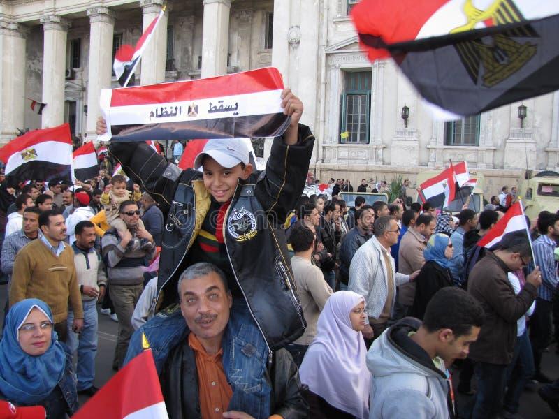 Egyptenaren die berusting van de Voorzitter eisen stock foto