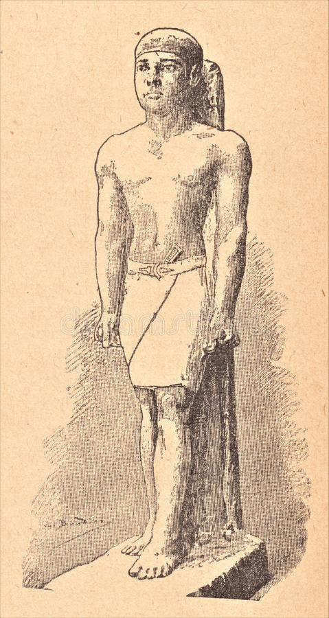 AN EGYPTIAN. ANCIENT STATUE CURRENTLY AT THE MUSEUM OF GIZEH. The Egyptian had broad shoulders and narrow hips royalty free illustration