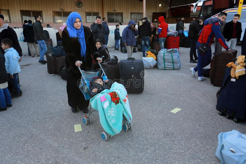 Egyptian authorities reopen the sole passenger crossing between Gaza and Egypt in both directions today. Palestinians wait to leave Gaza through Rafah border royalty free stock photos