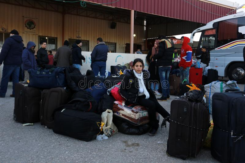 Egyptian authorities reopen the sole passenger crossing between Gaza and Egypt in both directions today. Palestinians wait to leave Gaza through Rafah border stock photography