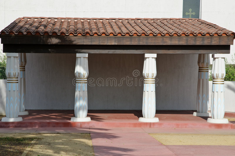 Egyptian backyard architecture. Replica of ancient Egyptian backyard architecture stock photo