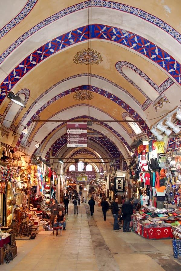 Egyptian Bazaar in Istanbul. ISTANBUL, TURKEY -JAN 20, 2011 - Painted arches of the Egyptian Bazaar in Istanbul, Turkey royalty free stock images
