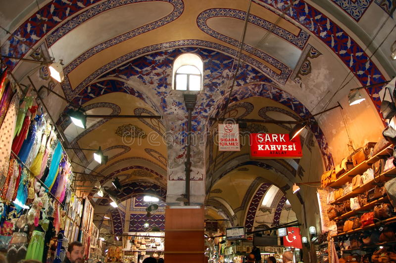 Egyptian Bazaar in Istanbul. ISTANBUL, TURKEY -JAN 20, 2011 - Painted arches of the Egyptian Bazaar in Istanbul, Turkey royalty free stock photography
