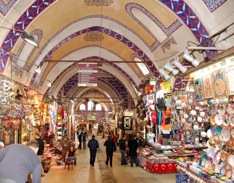 Egyptian Bazaar in Istanbul. ISTANBUL, TURKEY -JAN 20, 2011 - Painted arches of the Egyptian Bazaar in Istanbul, Turkey stock photo