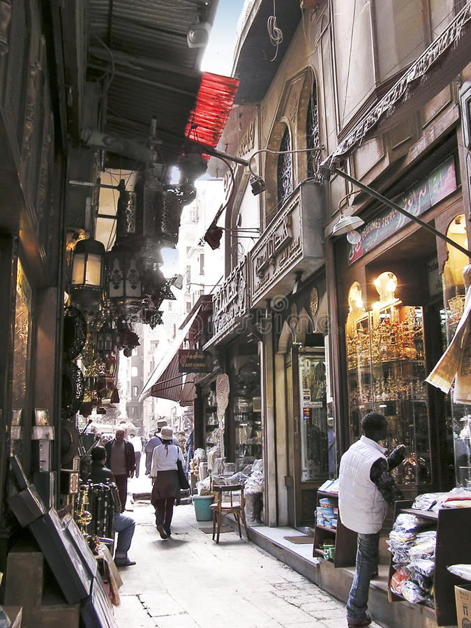 Egyptian bazaar merchants royalty free stock photography