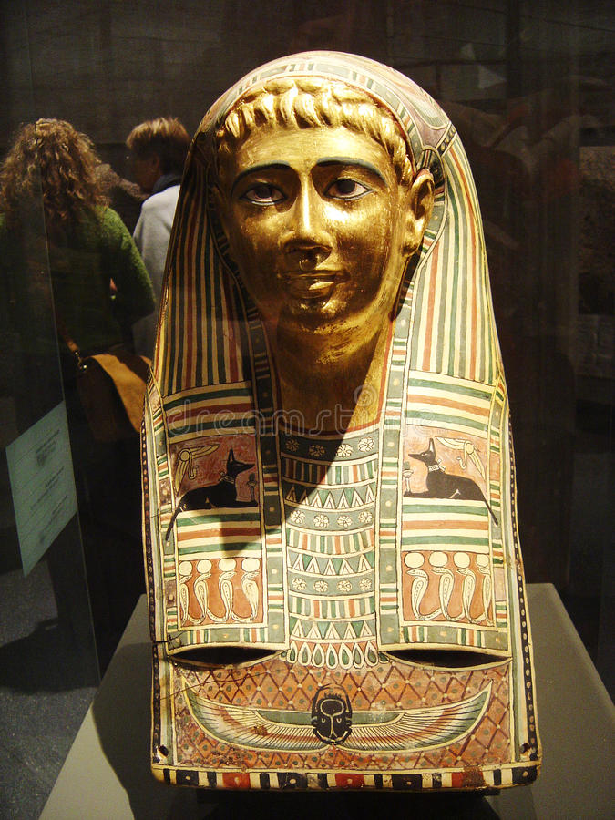 Egyptian berlin. A famous golden portrait mummy fron the fayum oasis inside the pergamon museum of berlin in germany royalty free stock image
