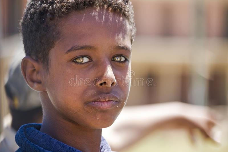 Egyptian boy with beautiful eyes 20.04.2012 Qesm Al Qoseir stock photography