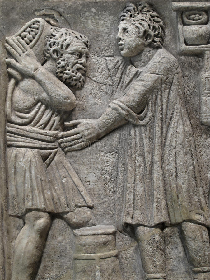 Download Egyptian Carved Bas Relief Of Two Men Stock Photo - Image: 28383886