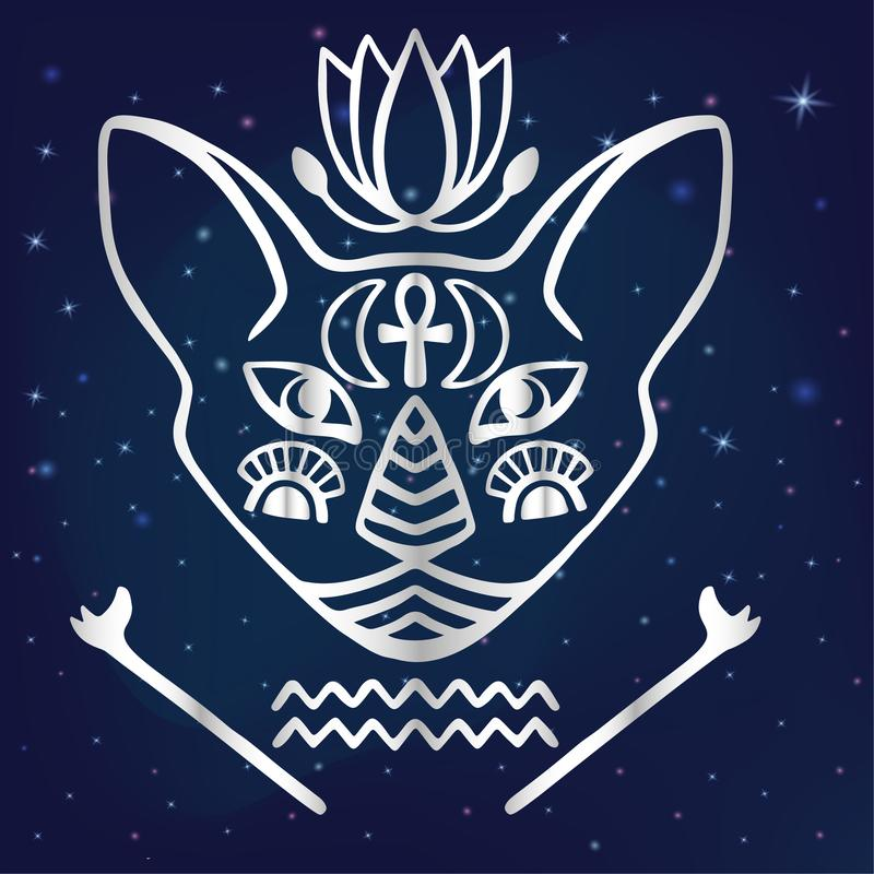 Egyptian cat face vector Sacred animal of ancient Egypt, mystical cat face with Egyptian hieroglyphic symbols Hand drawn tattoo ca. Egyptian cat face vector stock illustration