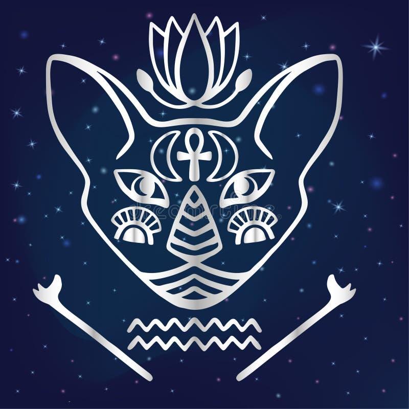 Egyptian Cat Face Vector Sacred Animal Of Ancient Egypt Mystical