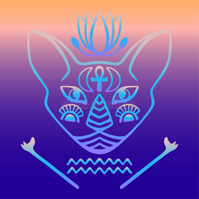 Egyptian cat face vector Sacred animal of ancient Egypt, mystical cat face with Egyptian hieroglyphic symbols Hand drawn tattoo ca. T on gradient background for vector illustration