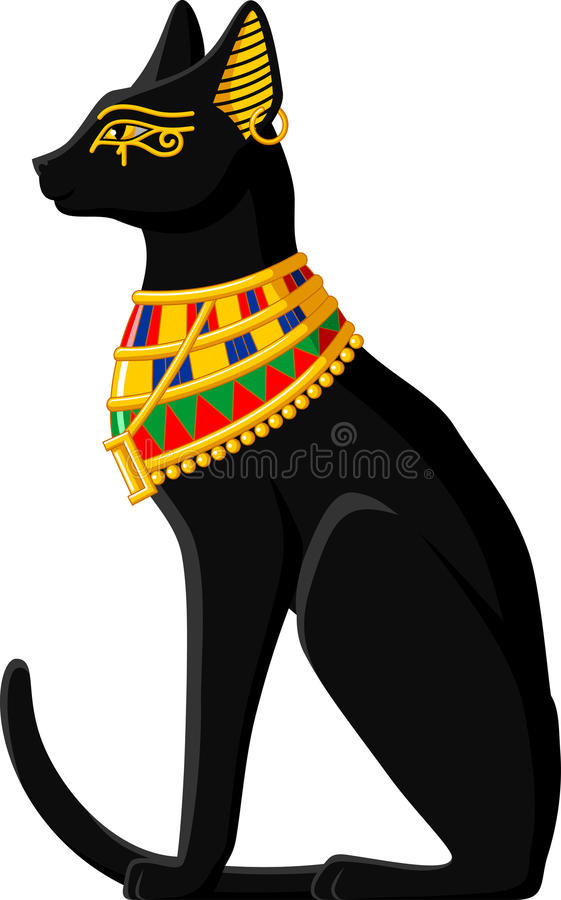 Egyptian Cat. Illustration of a black Egyptian cat isolated on white background vector illustration