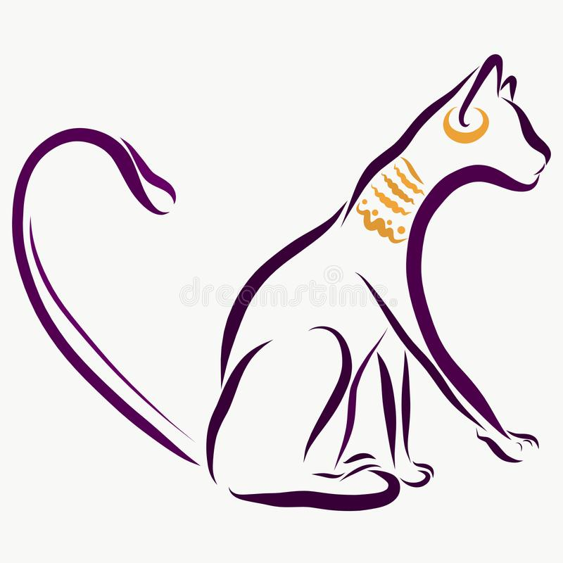 Egyptian cat with jewelry, sketch vector illustration