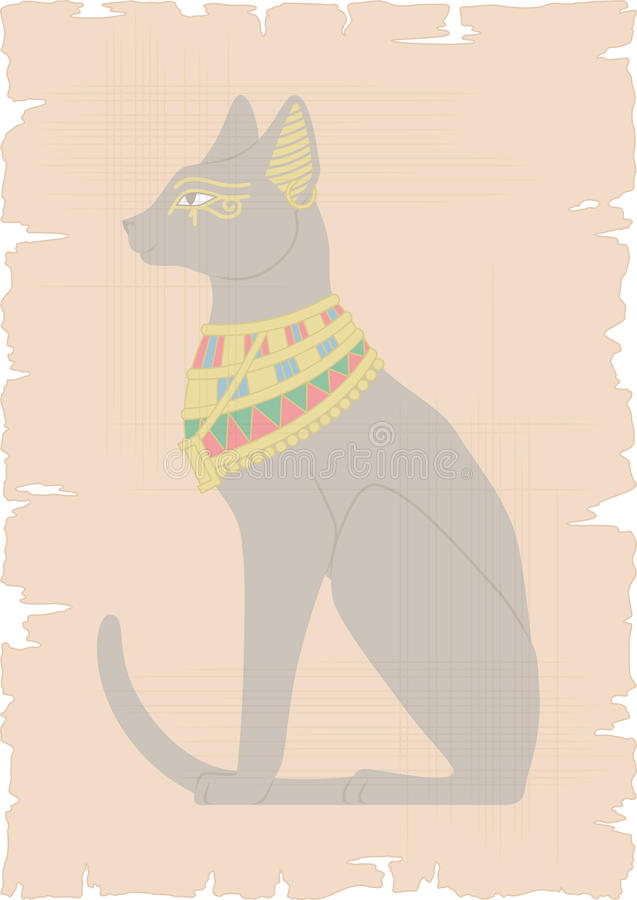 Download Egyptian Cat on Papyrus stock illustration. Image of egyptian - 38741095