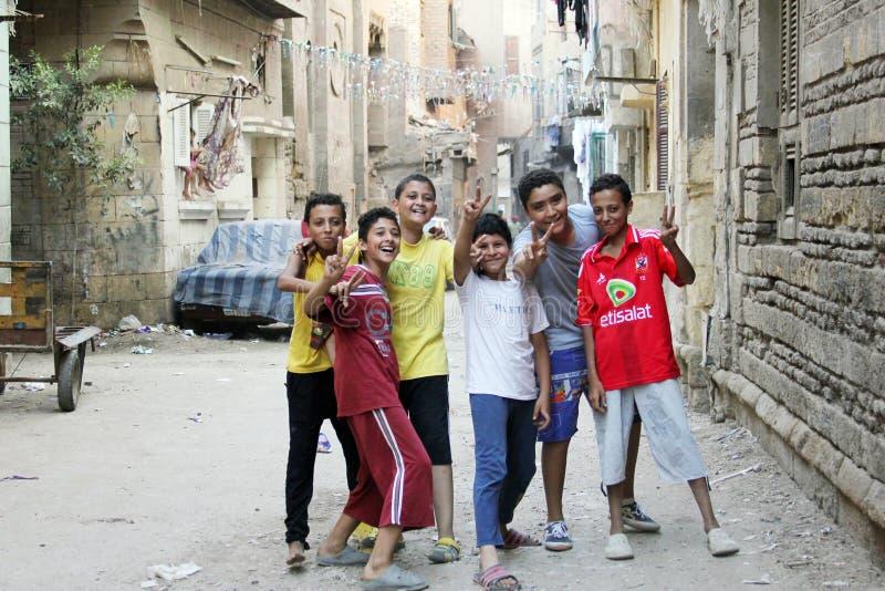 Egyptian children celebrating stock photography
