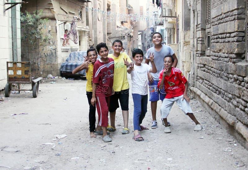 Egyptian children celebrating stock image