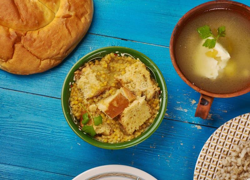 Egyptian Yellow lentil fаtta. Egyptian cuisine . Traditional Yellow lentil fаtta stock photography