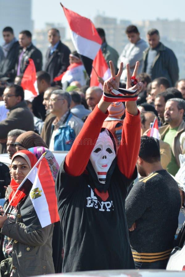 Egyptian Demonstrator Wearing Mask Editorial Stock Image