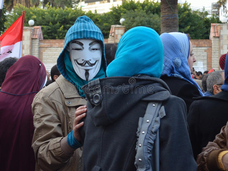 Download Egyptian Demonstrator Wearing Mask Editorial Photography - Image: 23051682