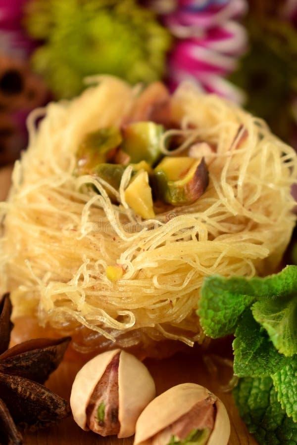 Egyptian dessert Kunafa stock images