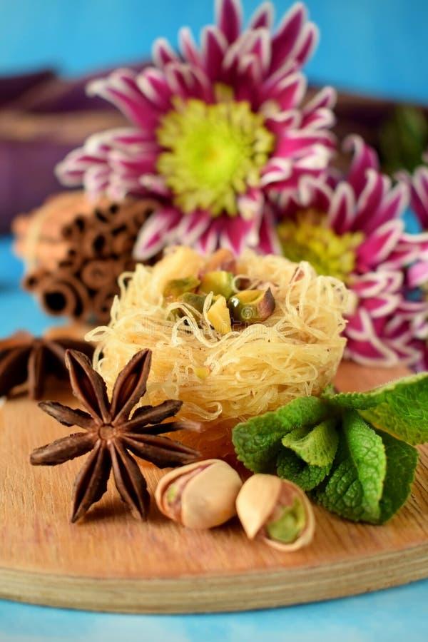 Egyptian dessert Kunafa royalty free stock photo