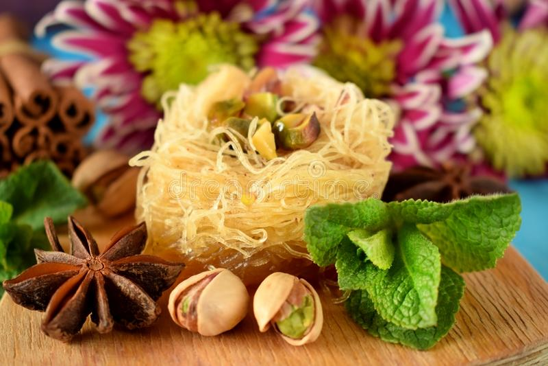 Egyptian dessert Kunafa royalty free stock image