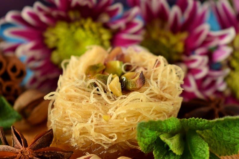 Egyptian dessert Kunafa stock photos