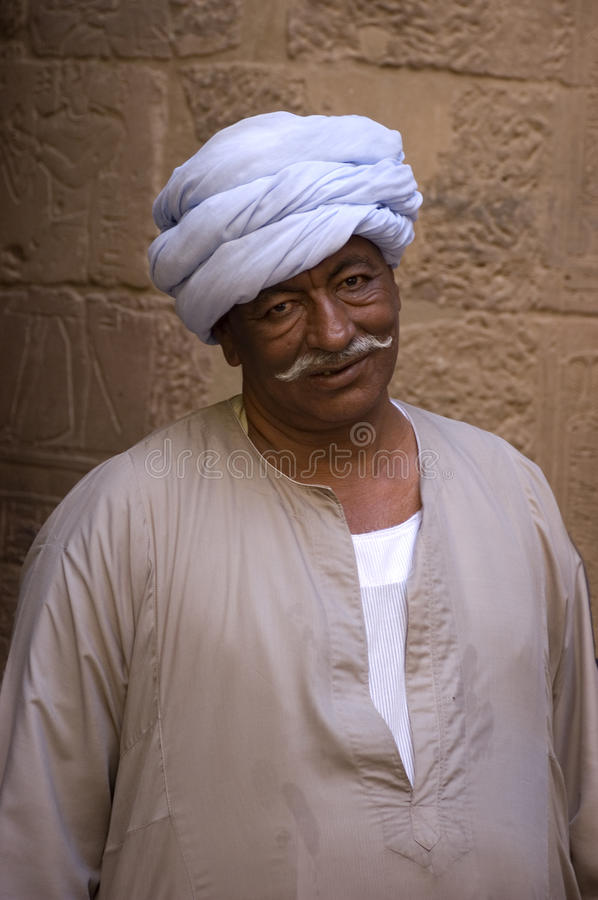 Egyptian Dressed in Traditional Arab Clothing stock images