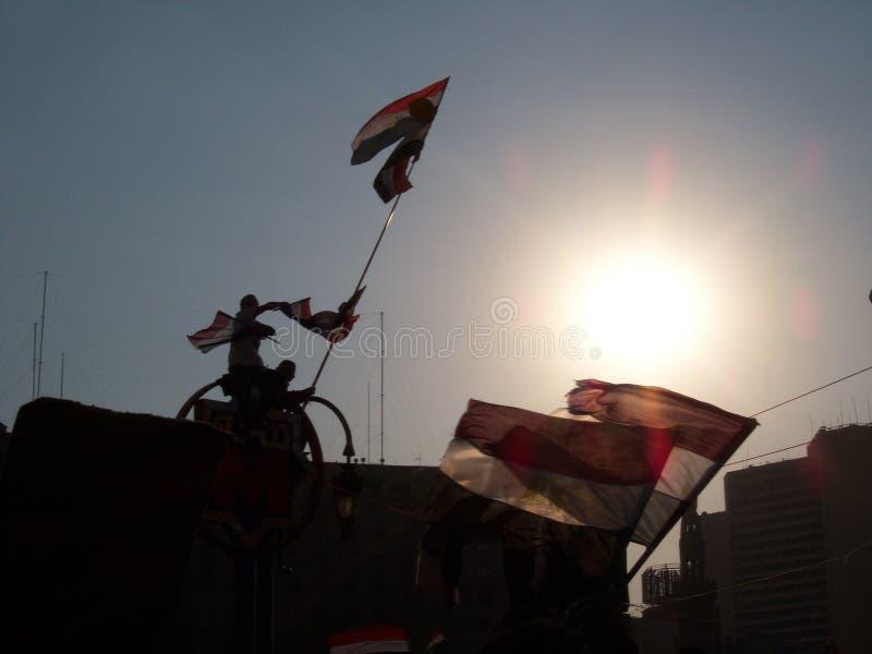 Man with Egyptian flag on Tharir square royalty free stock photos
