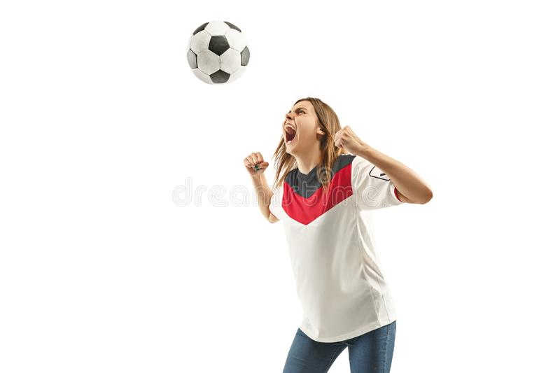 Egyptian football fan on white background stock photo