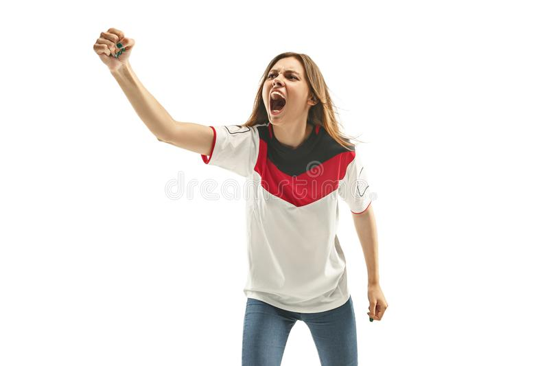 Egyptian football fan on white background royalty free stock images