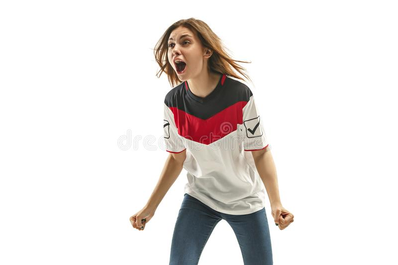 Egyptian football fan on white background royalty free stock photo