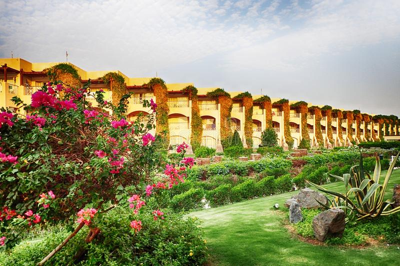 Egyptian garden hotel. As very nice architecture background royalty free stock photography