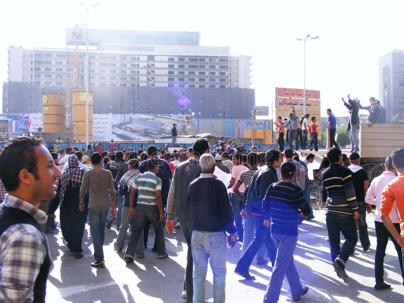People in Tahrir Square royalty free stock photo
