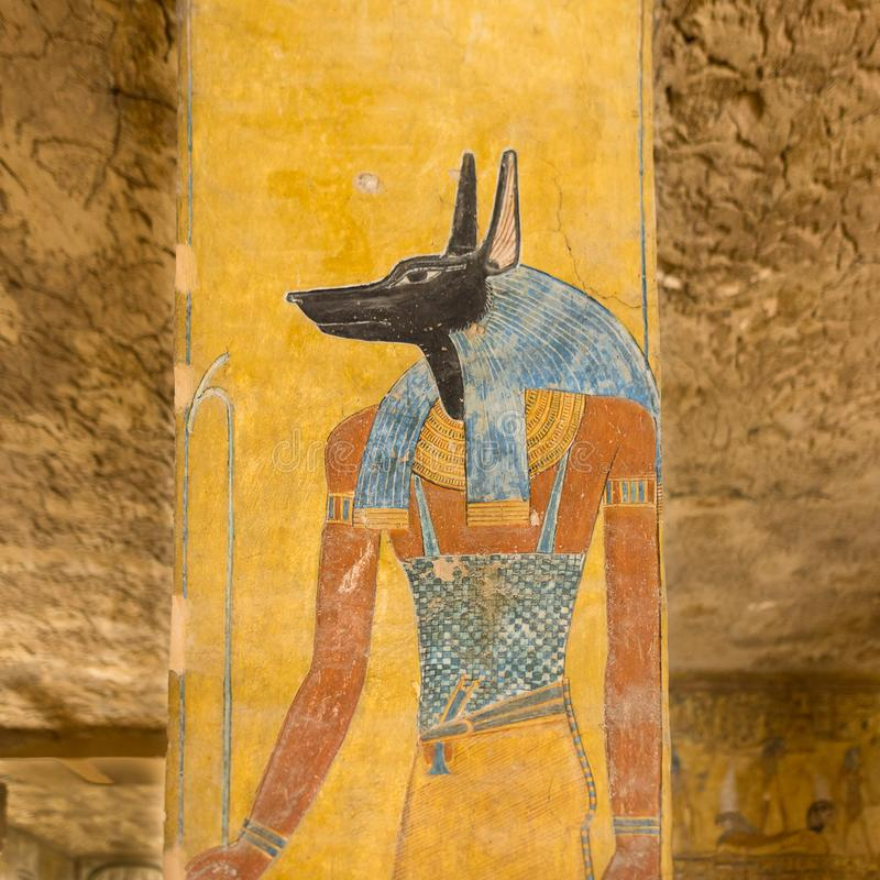 Anubis in a tomb in the valley of the kings. The egyptian god Anubis was a protector of graves and an embalmer. KV 14 tomb of Tausert and Setnakht, Egypt stock images