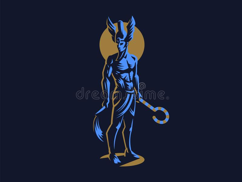 The Egyptian god Osiris. Vector Emblem. The Egyptian god Osiris. Logo. Vector Emblem royalty free illustration