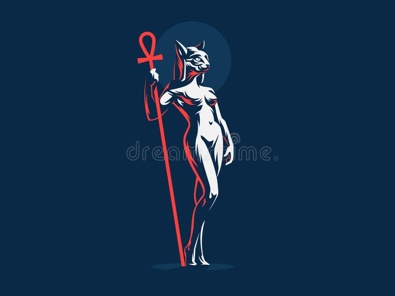 Egyptian goddess Bastet. Vector illustration. Egyptian goddess Bastet. Woman cat. Vector illustration vector illustration