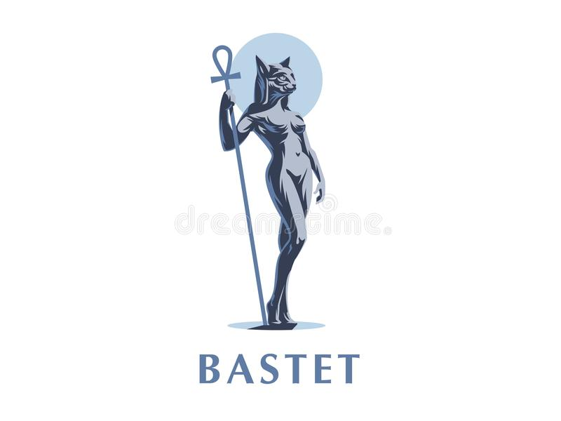 Egyptian goddess Bastet. Vector illustration. Egyptian goddess Bastet. Woman cat. Vector illustration stock illustration