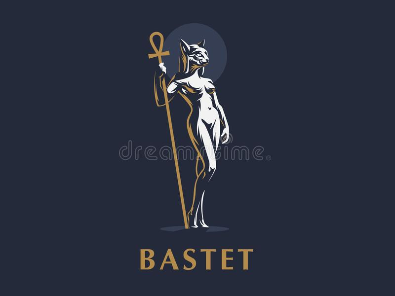 Egyptian goddess Bastet. Vector illustration. Egyptian goddess Bastet. Woman cat. Vector illustration royalty free illustration