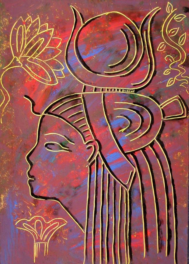 Egyptian Goddess Hathor. On colorful background. Painting stock illustration