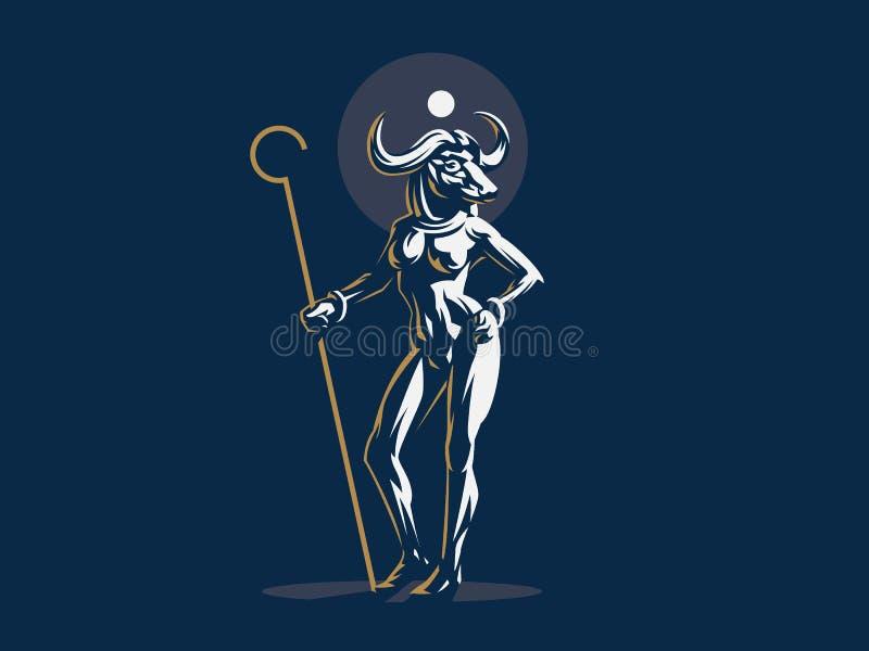 Egyptian goddess Hathor. Vector illustration. Egyptian goddess Hathor. Woman bull. Vector illustration stock illustration