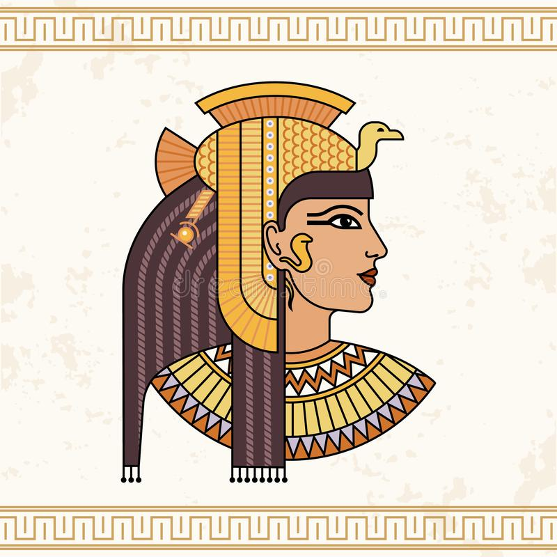 The Egyptian goddess Isis. Animation portrait of the beautiful Egyptian woman royalty free illustration