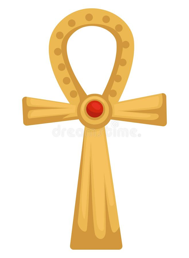 Egyptian gold coptic cross or Ankh with ruby stone isolated object stock illustration