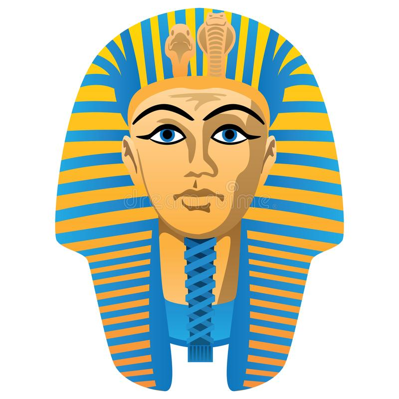 Egyptian Golden Pharaoh Burial Mask, Bold Colors, Isolated Vector Illustration royalty free stock photo