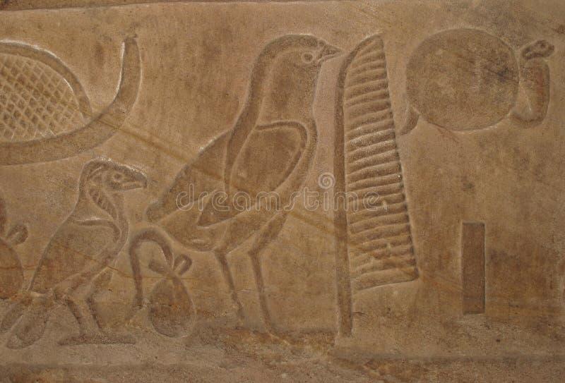 Egyptian Hieroglyphic Writing With Bird Symbols Stock Photo Image