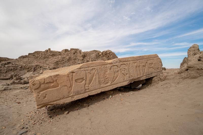 Egyptian hieroglyphs on an archaeological site in the Sudan. The ancient sites on this Sudanese island can be easily reached by boat from Abri stock images