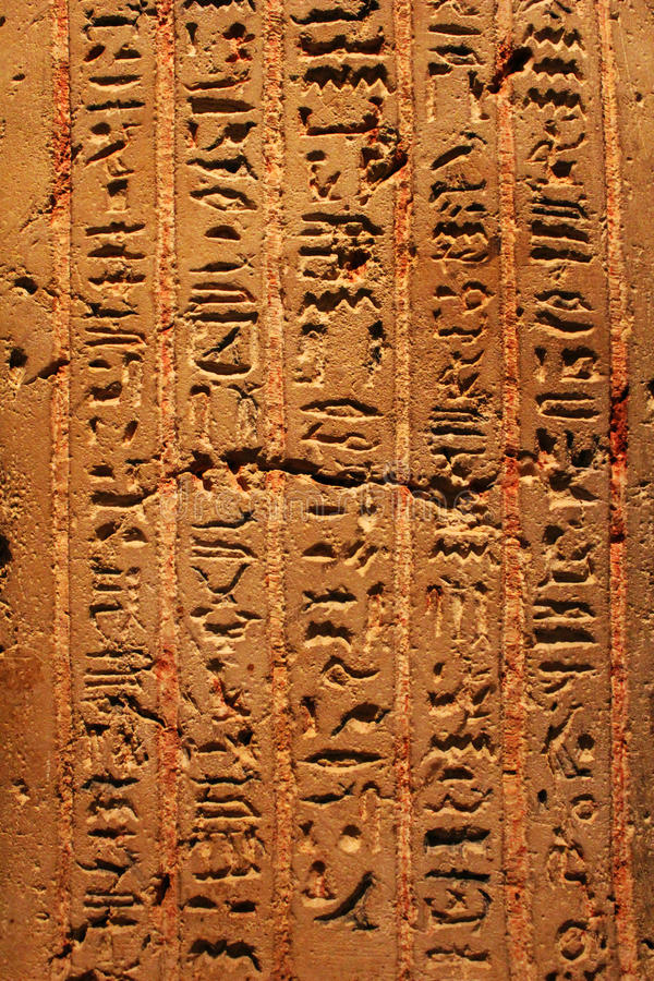 Egyptian hieroglyphs from Karnak temple in Luxor. Old egyptian hieroglyphs from Karnak temple in Luxor royalty free stock images