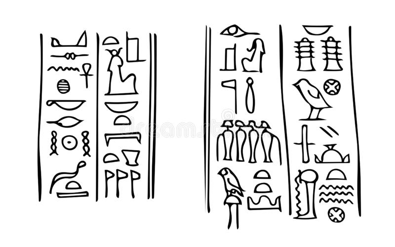 Egyptian hieroglyphs with names of Isis and Osiris in Karnak temple. Ancient Egyptian hieroglyphs with names of the goddess of fertility Isis (left) vector illustration