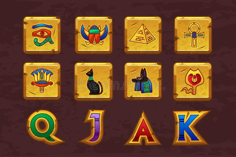 Egyptian icons for casino machines slots game vector illustration
